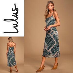 NWT LULU'S Dark Green Multi Print Midi Dress